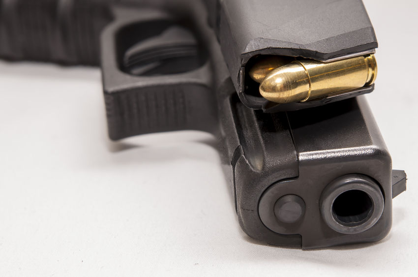 A 9mm pistol with loaded magazine